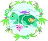 a cartoon clipart of a turtle swimming in the ocean surrounded by fish and ocean greenery clipart