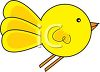 cartoon illustration of a yellow bird flying clipart