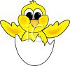 cartoon clip art of a yellow bird hatching out of it's shell clipart