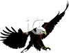 a clip art of an eagle preparing to soar down and pounce on his prey clipart