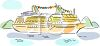 clip art illustration of a cruise ship sailing in the sea clipart