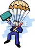 clip art illustration of a businessman skydiving in his suit, and holding his briefcase clipart