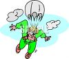 clip art illustration of a man skydiving. He has a funny look on his face clipart