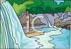 a clip art cartoon of flowing waterfalls into a river clipart
