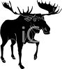 silhouette of a large moose walking. He has one leg up off the ground clipart