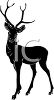 silhouette clip art of a 3 point deer standing and staring clipart