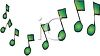 a cartoon illustration of green music notes clipart