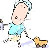 clip art cartoon of a baby pulling a wooden toy duck on a string and holding a bottle clipart