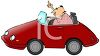 cartoon clip art of a man driving in a red car and flipping the bird clipart