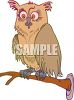 clip art illustration of an owl sitting on a branch with a scared look on his face clipart