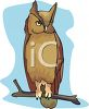 clip art illustration of a great horned owl sitting on a branch clipart