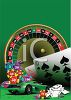 clip art illustration of a roulette table, black jack cards, and a sports car on a green background clipart