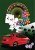 clip art illustration of a red car, roulette table, cards, and dice clipart