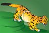a clip art illustration of a young tiger walking on a grassy area clipart