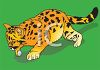 clip art illustration of a baby tiger on the prowl on a green background clipart