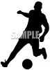 clip art silhouette of a man playing soccer clipart