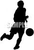 clip art silhouette of a man kicking a soccer ball clipart