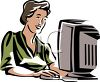 clip art of a woman working on a computer clipart