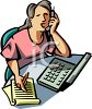 a woman sitting at a desk talking on a phone and writing on a tablet clipart
