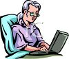 Clip art of a business woman typing on a laptop clipart