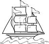 clip art Outline of a sailboat with flags flying clipart