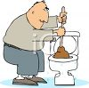 Cartoon man using a plunger or plumbers helper on a toilet clipart