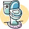 Toilet in a bathroom or restaurant clipart