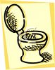Drawing of a toilet with the lid up on a yellow background clipart