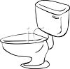 Simple outline drawing of a toilet and tank clipart
