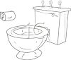 A toilet with candles on the tank and toilet paper on the wall clipart