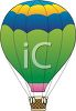 clip art of a yellow, blue, green, and pink hot air balloon clipart