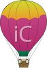 clip art illustration of a yellow and purple hot air balloon in the sky clipart