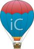 clip art cartoon of a red and blue hot air balloon  clipart
