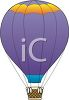 Illustration Of a purple hot air balloon  clipart