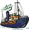 clip Art illustration of a cruise ship on the ocean clipart
