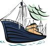clip art illustration of a cargo ship on the ocean clipart