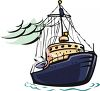 clip art illustration of a fishing boat on the ocean clipart
