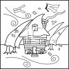 a black and white clip art of a hurricane blowing items around. A house is still standing clipart