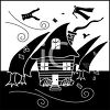 a clip art silhouette of a house, trees, clothing, and paper being blown away by a hurricane clipart