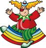 clip art illustration of a man dressed as a clown sitting on a rocking rainbow toy clipart
