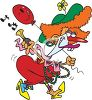 clip art cartoon of a woman dressed as a clown squeaking a horn clipart