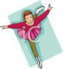 clip art illustration of a young girl wearing a pink tutu ice skating clipart