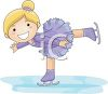 clip art of an adorable little girl with a big smile doing tricks on her ice skates clipart