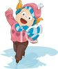 clip art of a happy young girl ice skating with her arms out to the side and a big smile clipart