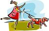 clip art image of a lady walking her dog. The dog is pulling the lady clipart