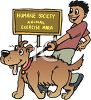 clip art of a boy walking a dog at the humane society clipart
