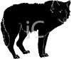 clip art of a black fluffy dog standing clipart
