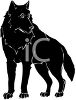 clip art image of a black furry dog standing and staring clipart