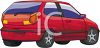 clip art illustration of a red hatchback car clipart
