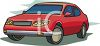 clip art image of a parked red economy car clipart